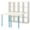 KALLAX/ADILS çalışma masası ve kitaplık, beyaz-mavi, 147x147 cm