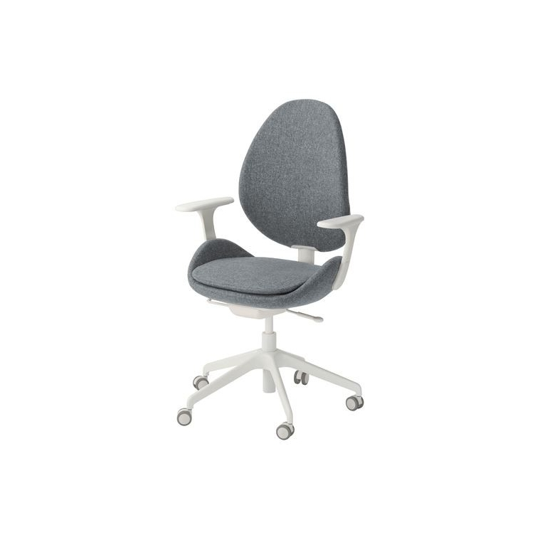 HATTEFJALL kolçaklı dönen sandalye, gunnared orta gri-beyaz 68x68x110 cm