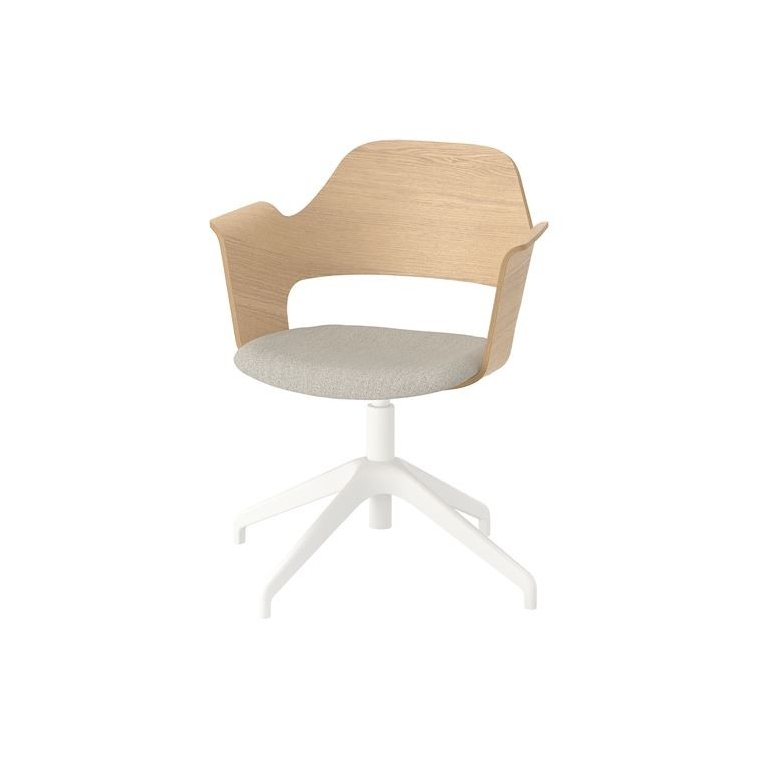 FJALLBERGET dönen sandalye, ağartılmış meşe kaplama-gunnared açık bej 67x67x86 cm