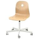 VAGSBERG dönen sandalye, huş kaplama-beyaz