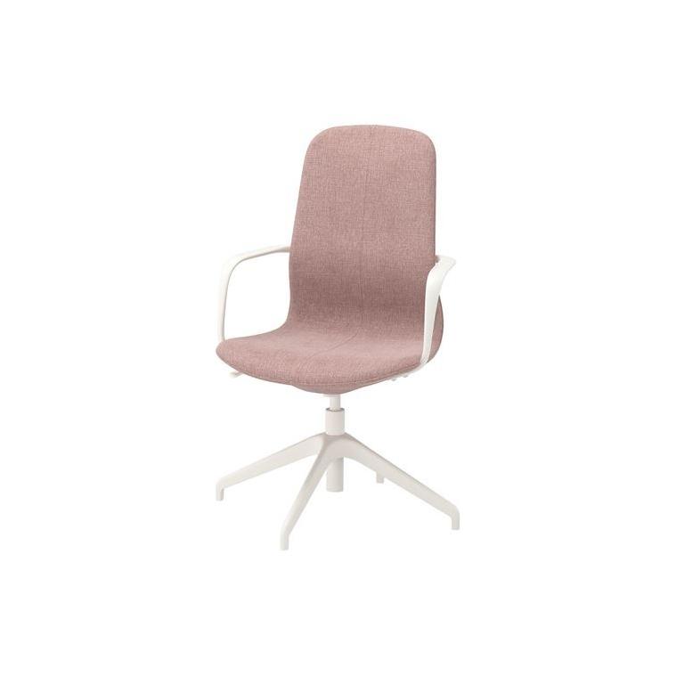LANGFJALL dönen sandalye, gunnared açık kahverengi-pembe-beyaz 67x67x104 cm
