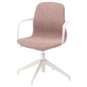LANGFJALL dönen sandalye, gunnared açık kahverengi-pembe-beyaz 67x67x92 cm