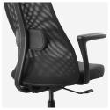 JARVFJALLET kolçaklı dönen sandalye, gunnared koyu gri-siyah 68x68x140 cm