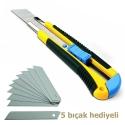 HAKTAŞ Kauçuk Gövdeli Maket Bıçağı + 5 Adet Yedek Bıçak Set HKT-4082