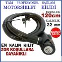 120 Cm Bisiklet Motorsiklet Kilidi Zinciri Çelik Güvenlik Kilit Zincir