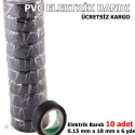 KIRGIL LÜX PVC ELEKTRİK BANDI SİYAH 10 ADET ELEKTRİKÇİ BANTI SİYAH