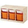 TROFAST saklama ünitesi, çam-turuncu, 94x44x52 cm
