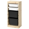 TROFAST saklama ünitesi, çam-beyaz-siyah, 44x30x91 cm