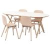 SLAHULT/DALSHULT yemek masası ve sandalye seti, beyaz-huş, 185 cm