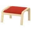 POANG ayak uzatma taburesi, huş kaplama-knisa kırmızı-turuncu 68x54x39 cm