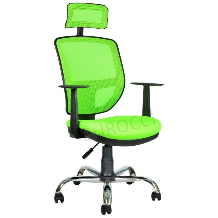 2051C0543 - Bürocci Eva Fileli Başlıklı Kromajlı Koltuk-Yeşil