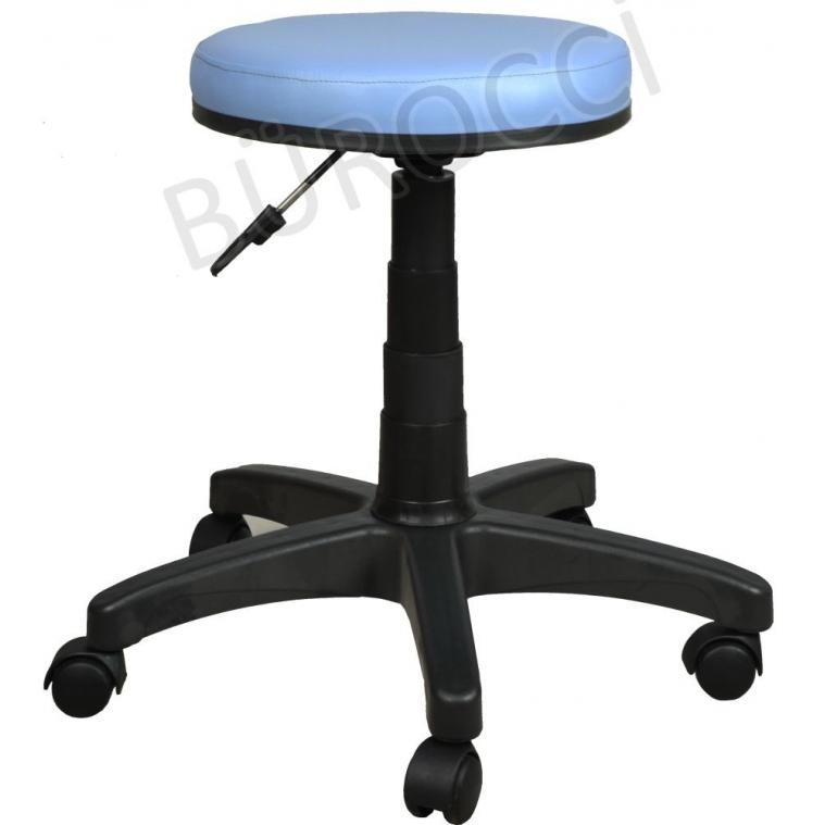 2999G0119-Bürocci Plastik Ayaklı Tabure-Mavi Deri