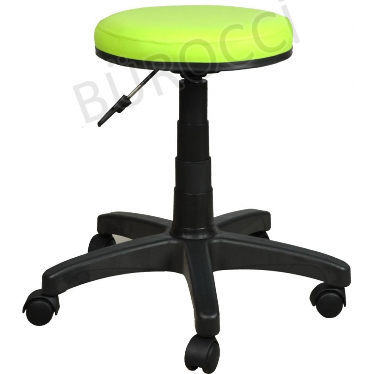 2999G0110-Bürocci Plastik Ayaklı Tabure-Yeşil Deri