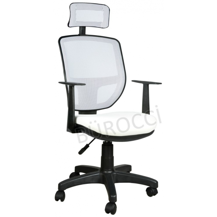 2051R0550 - Bürocci Eva Fileli Başlıklı Koltuk-Beyaz