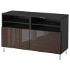 BESTA/SELSVIKEN tv sehpası, venge-stallarp parlak kahverengi 120x40x74 cm
