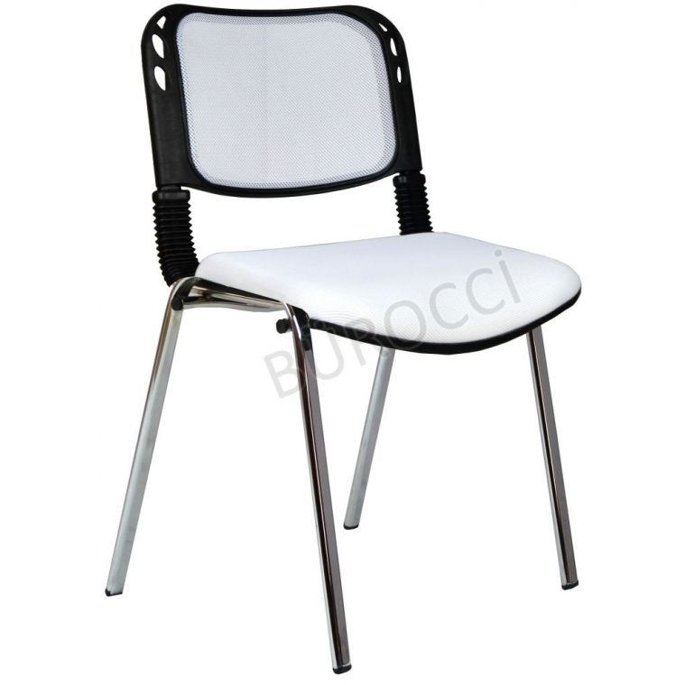 2016P0550 - Bürocci Fileli Kromajlı Form Sandalye - Beyaz