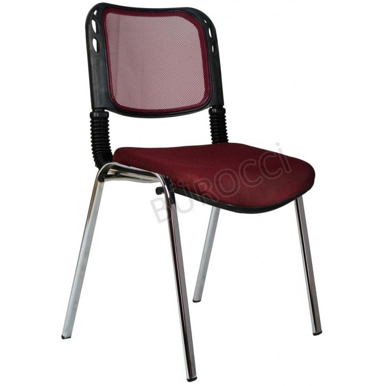 2016P0547 - Bürocci Fileli Kromajlı Form Sandalye - Bordo