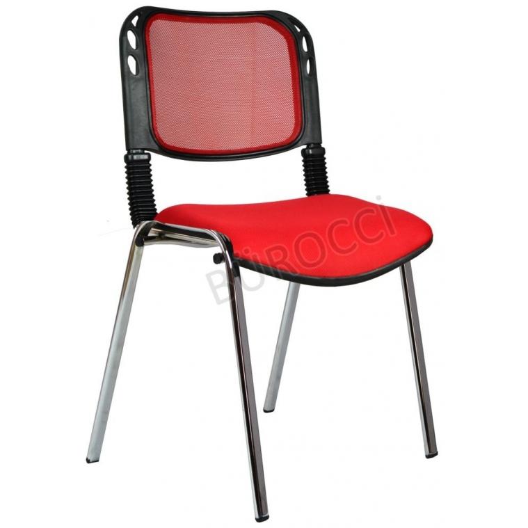 2016P0545 - Bürocci Fileli Kromajlı Form Sandalye - Kırmızı
