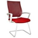 2102L0545 - Bürocci Aletta Beyaz Z Ayaklı Misafir Koltuğu - Kırmızı