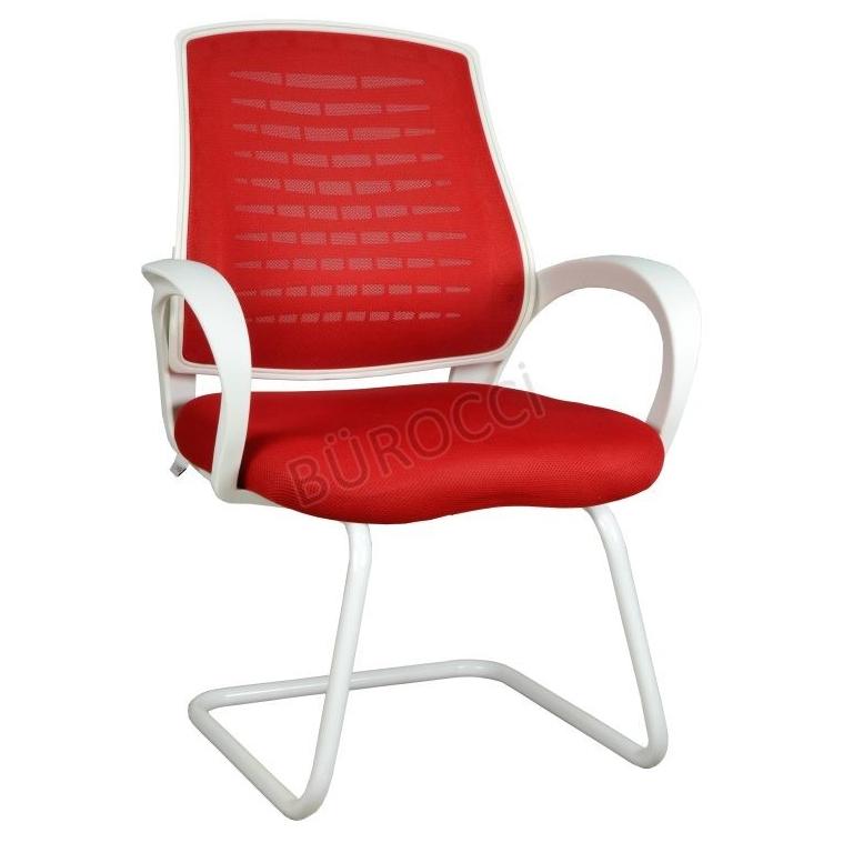 2055L0545 - Bürocci Bella Beyaz Z Ayaklı Misafir Koltuğu - Kırmızı