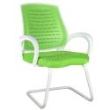 2055L0543 - Bürocci Bella Beyaz Z Ayaklı Misafir Koltuğu - Yeşil