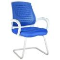 2055L0542 - Bürocci Bella Beyaz Z Ayaklı Misafir Koltuğu - Mavi