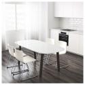 OPPEBY yemek masası, beyaz-koyu kahverengi, 185x90 cm