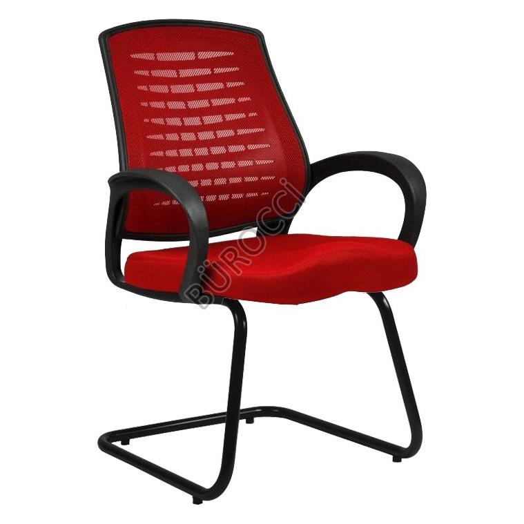2052L0545 - Bürocci Ergo Siyah Boyalı Z Ayak Misafir Koltuğu - Kırmızı
