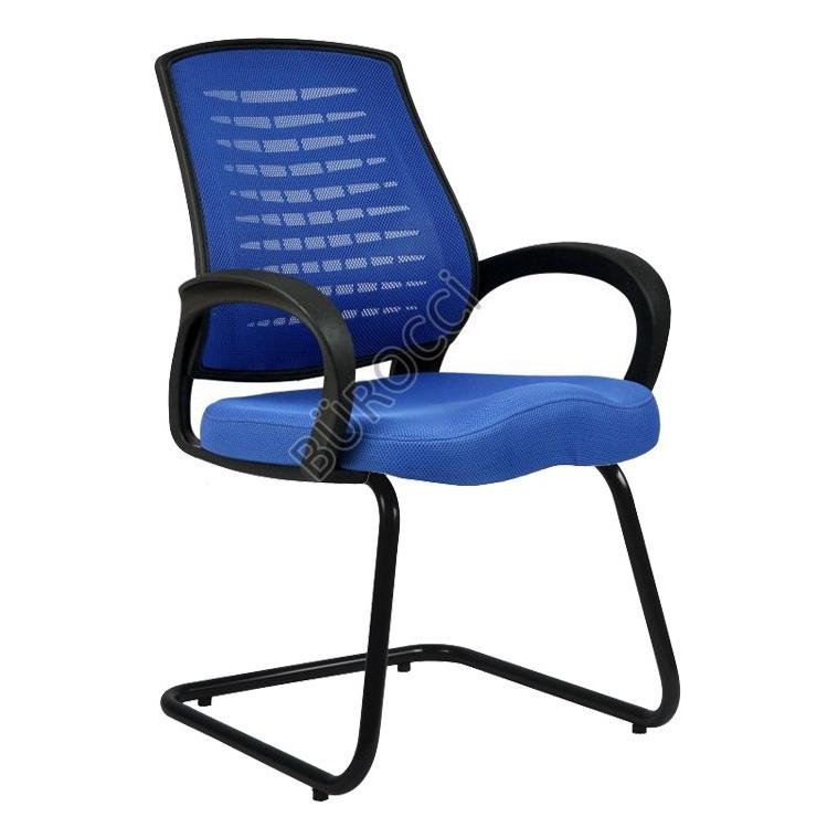2052L0542 - Bürocci Ergo Siyah Boyalı Z Ayak Misafir Koltuğu - Mavi