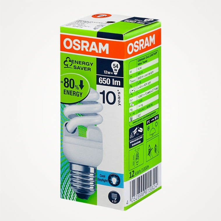 OSRAM Spiral Enerji Tasarruflu Beyaz Ampul T2
