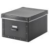 FJALLA kapaklı kutu, koyu gri, 27x36x20 cm